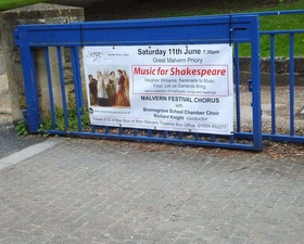 Publicity banner on the Priory gate